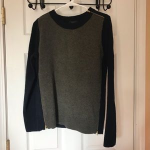 J Crew wool blue and green sweater with zippers